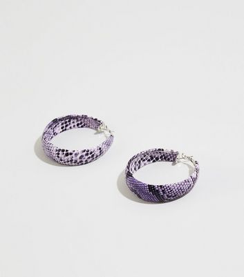 Lilac Snake Print Hoop Earrings