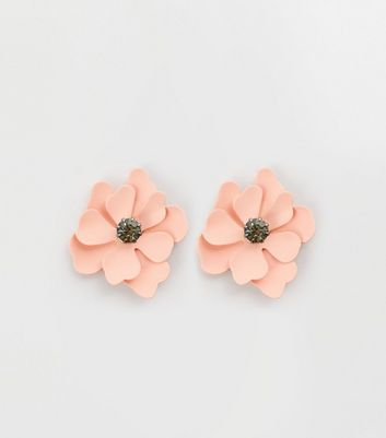 Pale Pink Flower Stud Earrings