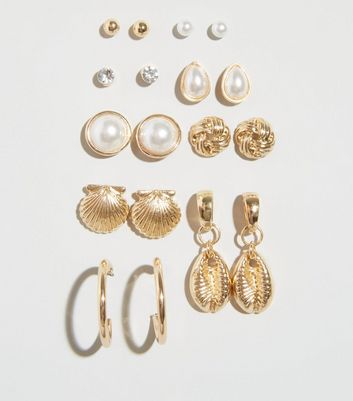 9 Pack Gold Faux Shell and Pearl Stud Earrings