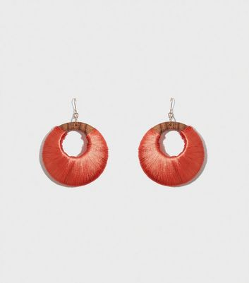 WANTED Orange Wraped Hoop Earrings