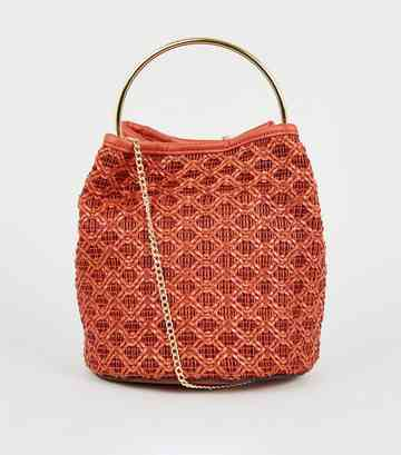 Bright Orange Leather-Look Woven Bucket Bag