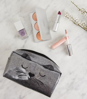 Grey Glitter Cat Make-Up Bag