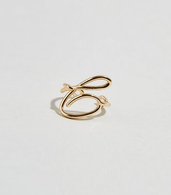 Gold Twisted C Initial Ring