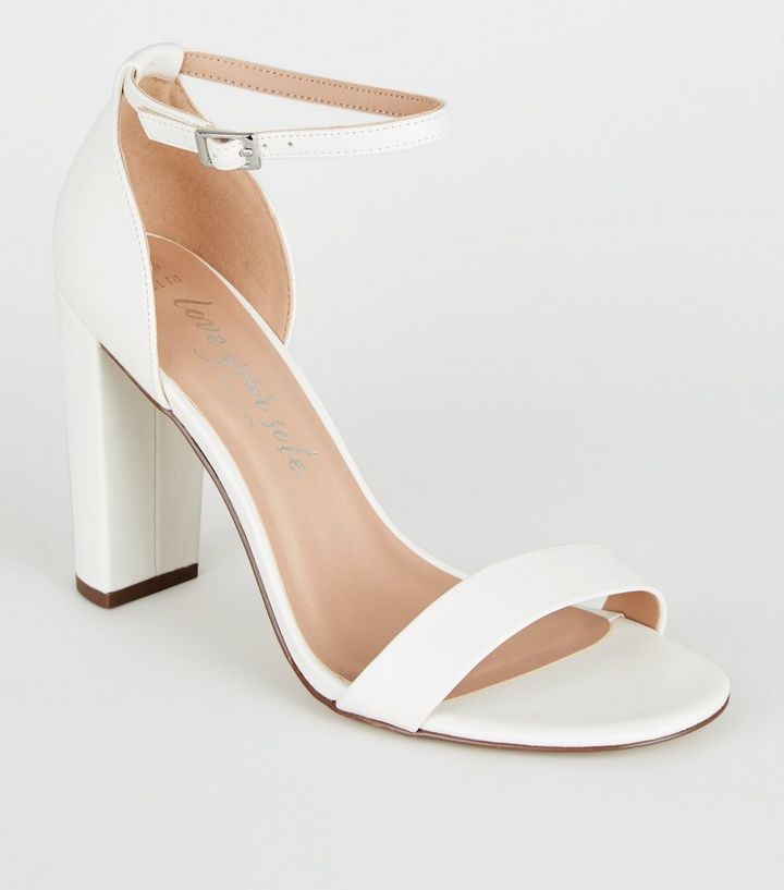 classcic large discount new release Wide Fit White Leather-Look Block Heels Add to Saved Items Remove from  Saved Items