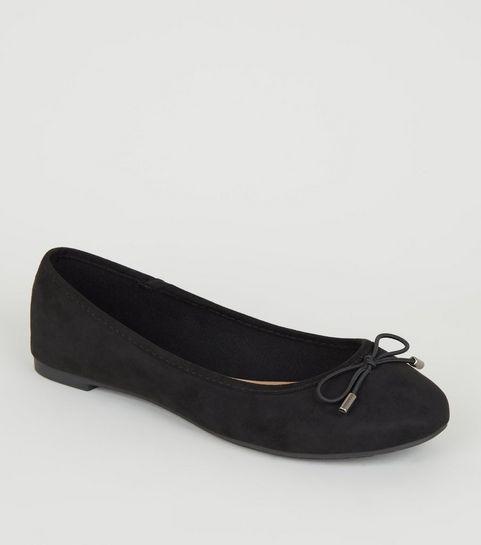 31d9b36133297 Black Suedette Bow Front Ballet Pumps ...