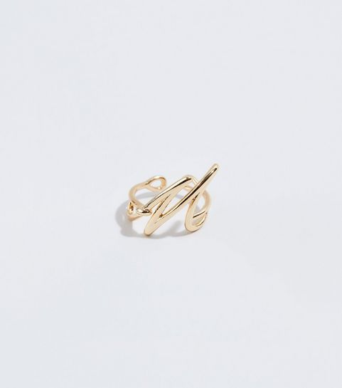 ... Gold Twisted M Initial Ring ...