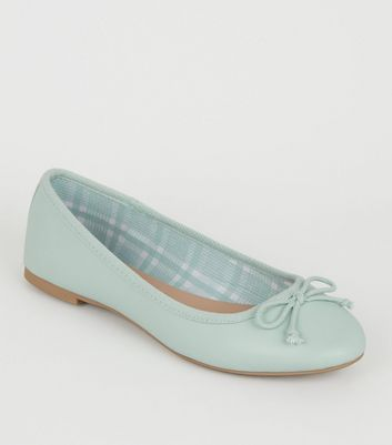 Mint Green Leather-Look Check Lined Ballet Pumps