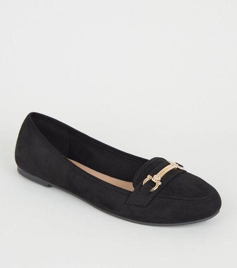 d633600edf3a2 Black Suedette Bar Front Loafers ...