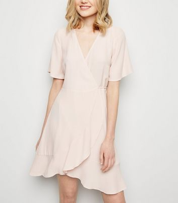 Pink Frill Hem Wrap Mini Dress