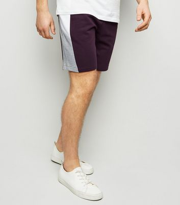 Dark Purple Colour Block Jersey Shorts
