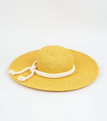 Yellow Straw Effect Rope Trim Hat