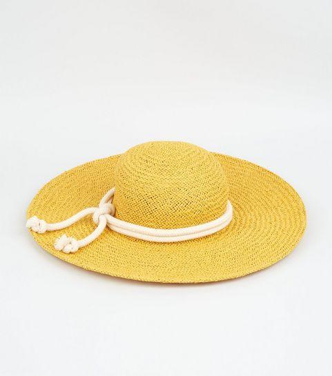 b8607bd83eda7 ... Yellow Straw Effect Rope Trim Hat ...