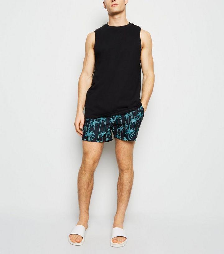 3f3090adfe Black Neon Palm Print Swim Shorts | New Look