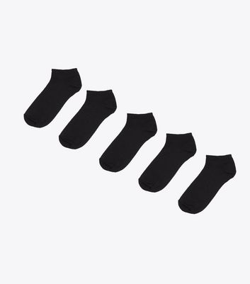 5 Pack Black Cotton Blend Trainer Socks