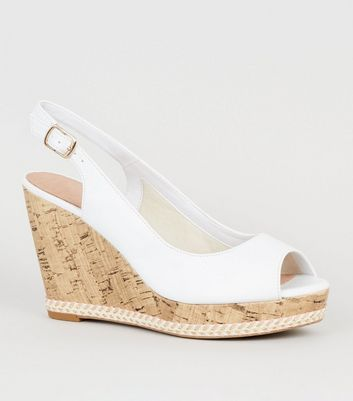 White Leather-Look Peep Toe Cork Wedges