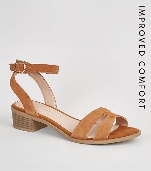 abeb922c0a0 ... Tan Suede Link Strap Block Heels ...