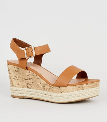Tan Leather-Look Espadrille And Cork Wedges