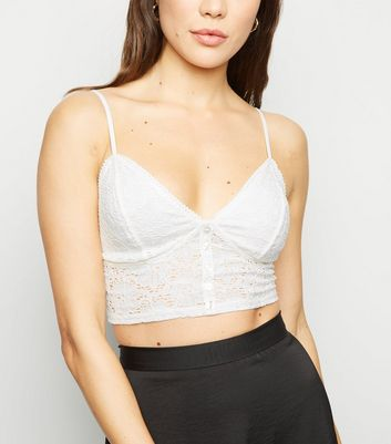 Off White Lace Button Front Bralette