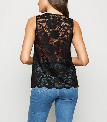 Black Scallop Edge Lace Vest Top