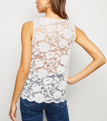 White Scallop Edge Lace Vest Top