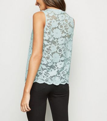 Mint Green Scallop Edge Lace Vest Top