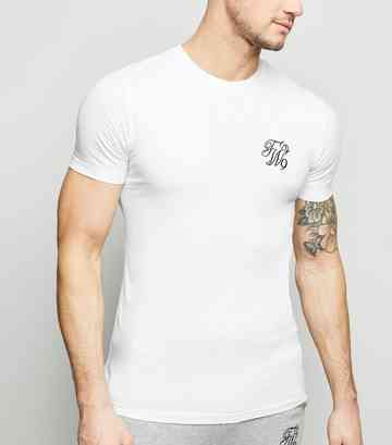 White TW9 Embroidered Muscle Fit T-Shirt
