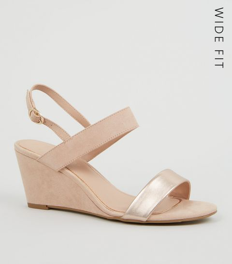 f96a300b97f ... Wide Fit Nude Suedette 2 Part Wedge Heels ...