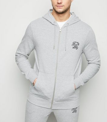 Grey TW9 Embroidered Zip Up Hoodie