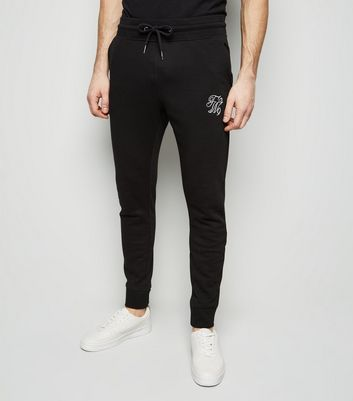 Black TW9 Embroidered Skinny Joggers