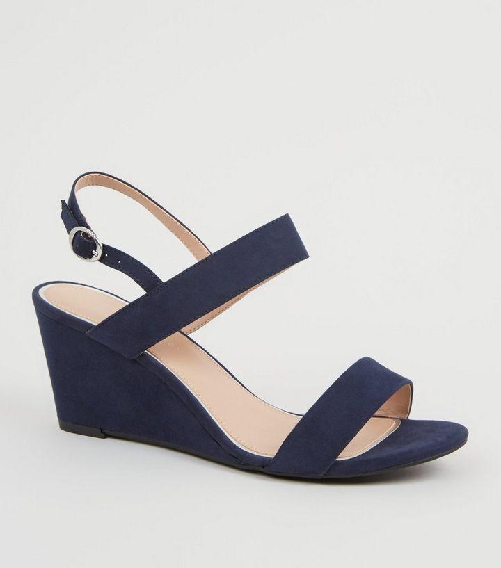 701a157d26 Wide Fit - Sandales compensées bleu marine en suédine | New Look