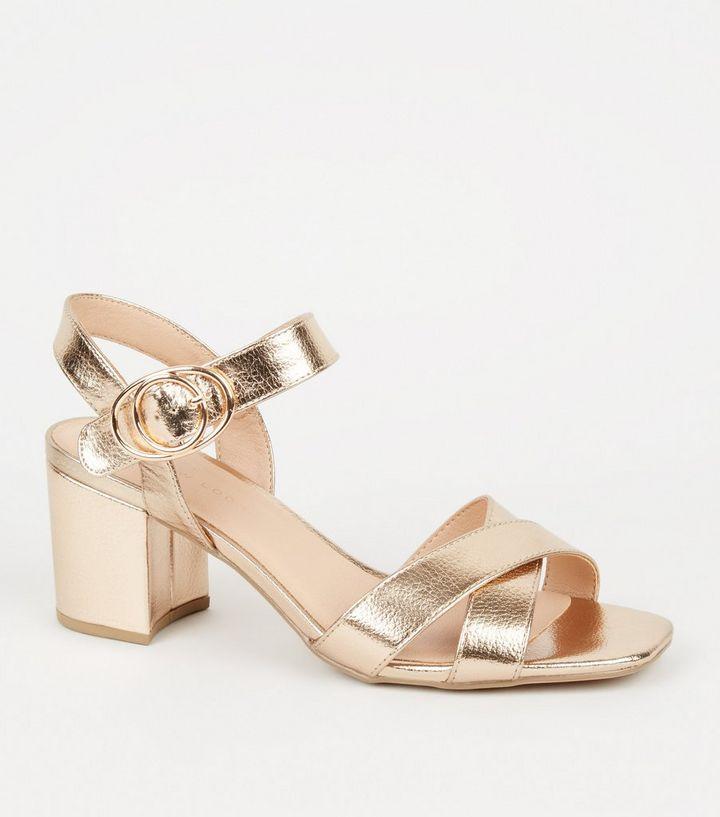 0210081a429 Wide Fit Rose Gold 2 Part Block Heel Sandals