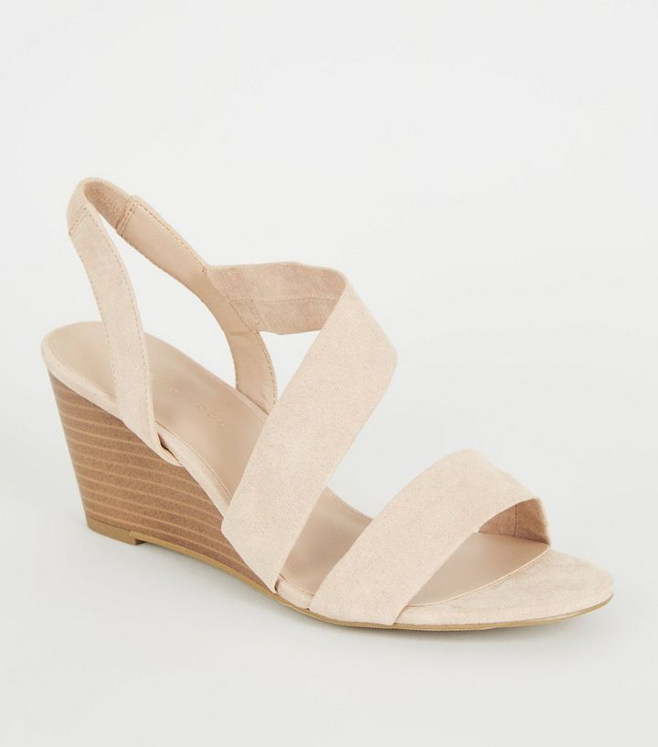 7b0ad9698a8 Wide Fit Nude Suedette Strappy Wedge Heels Add to Saved Items Remove from  Saved Items