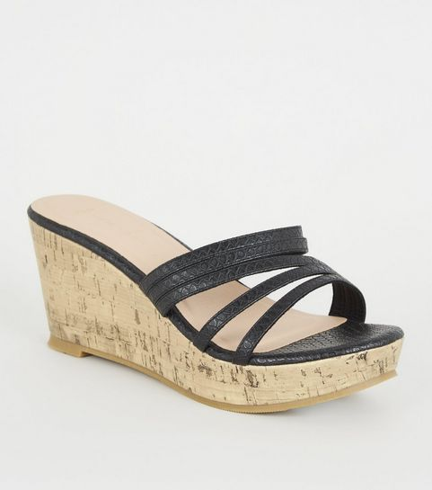e6fa8e40f19 ... Wide Fit Black Faux Snake Mule Wedges ...