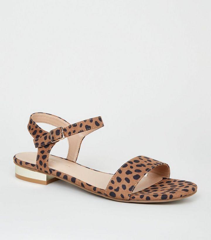 cee2f684f20 Wide Fit Brown Leopard Print Metal Heel Sandals