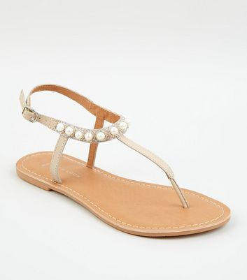 Wide Fit Nude Leather Faux Pearl Strap Sandals