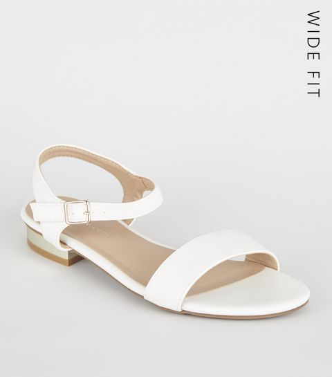 fd3f2bfdef46 ... Wide Fit White Metal Heel Sandals ...
