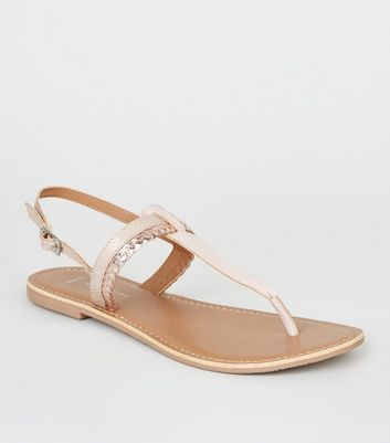 Wide Fit Nude Leather Faux Snake Strap Flat Sandals