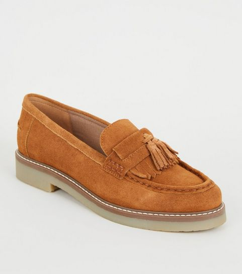 6a0a07c55 ... Tan Suede Tassel Trim Loafers ...
