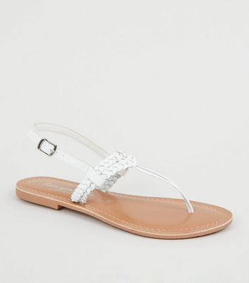 White Leather Plait Strap Sandals