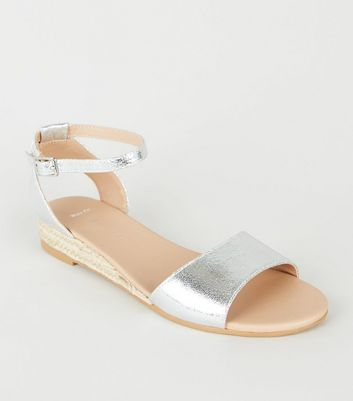 Wide Fit Silver Espadrille Wedge Sandals