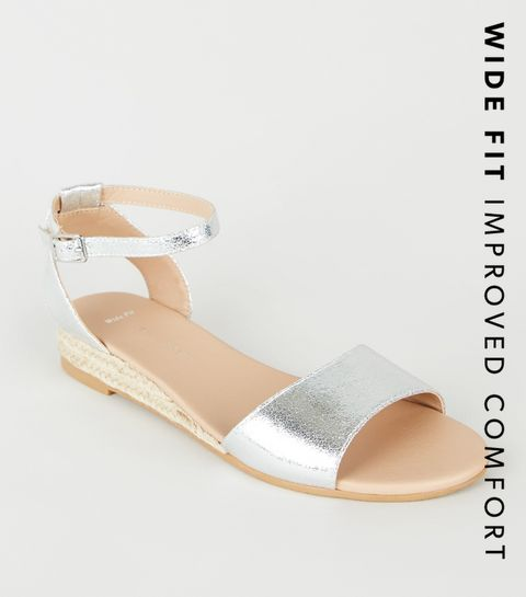 5294935b7d7e26 ... Wide Fit Silver Espadrille Wedge Sandals ...