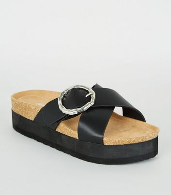 Black Hammered Buckle Flatform Sliders