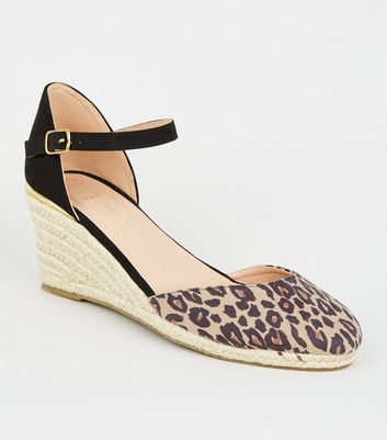 Wide Fit Stone Leopard Print Espadrille Wedges