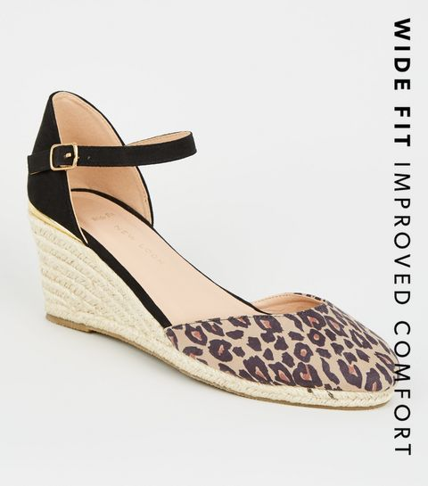 2e9e5fe1af4a ... Wide Fit Stone Leopard Print Espadrille Wedges ...