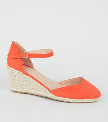 Wide Fit Orange Suedette Espadrille Wedge Heels