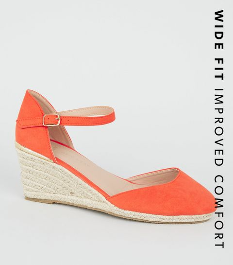 c603363299ad ... Wide Fit Orange Suedette Espadrille Wedge Heels ...