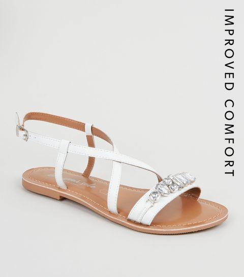 b937e32fdf9 ... White Leather Gem Strap Flat Sandals ...