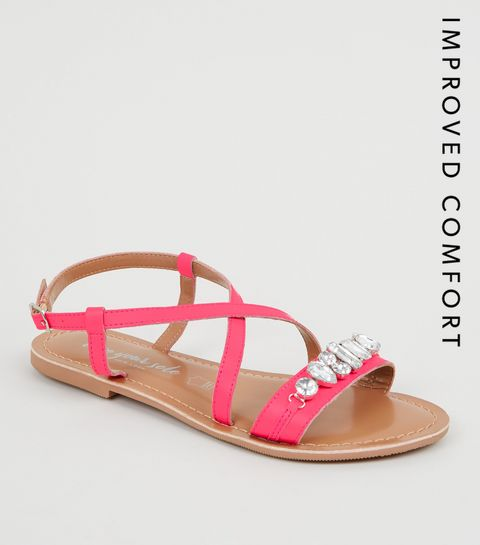 8cf1284ca837 ... Bright Pink Leather Gem Strap Flat Sandals ...