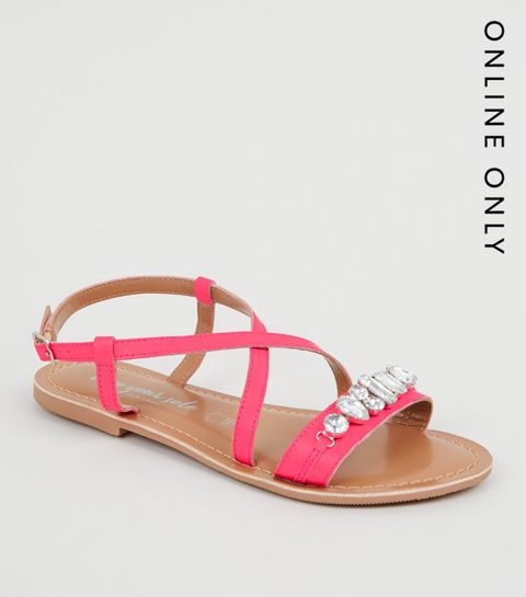 0ba86abdaea ... Bright Pink Leather Gem Strap Flat Sandals ...