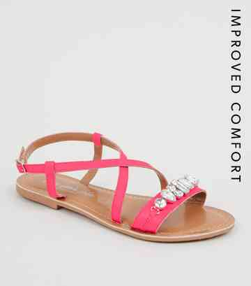 Bright Pink Leather Gem Strap Flat Sandals